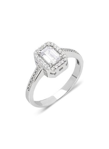 Aykat Baget Yüzük 925 Ayar Gümüş Taşlı Bayan Yüzüğü Yzk-374 Gümüş